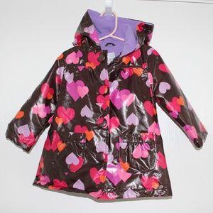 Carter's Girl Sz 2T Raincoat Rain Jacket W/ Hearts